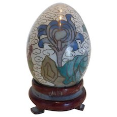 Vintage Cloisonné Egg with Carved Wood Stand