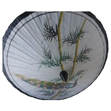 Saa Umbrella Parasol Hand Painted  Paper and Bamboo Peacock Design Thailand