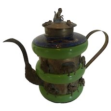 Chinese Figural Jade, Cloisonné and Silver Teapot with Dragon and Animal Figures