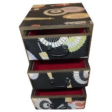 Vintage Japanese Three Drawer Kimono Fabric Jewelry Chest