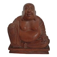 Hand Carved Wood Laughing Buddha Figure 9+ Inches