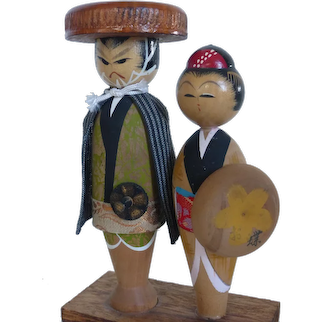 Kokeshi Dolls Samurai Jirocho and Wife