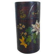 Antique Japanese Lacquer Enamel Tin Tea Caddy