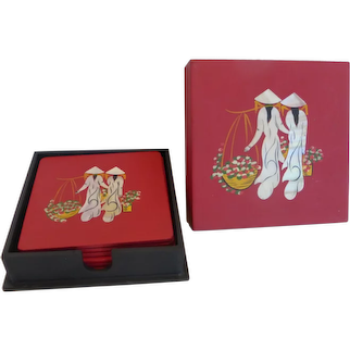 Vintage Asian Lacquer and Mother of Pearl Coaster Set in Box