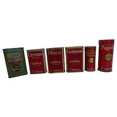 Vintage Tin Litho Spice Tins Set of 6