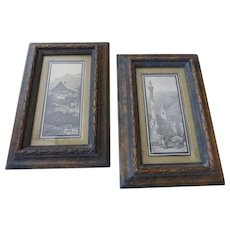 Vintage Framed Block Prints of Swiss Alp Village Scenes Original Frames Pair