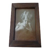 "Framed ""Cupid Asleep"" Photograph by M B Parkinson Print Original Oak Frame"