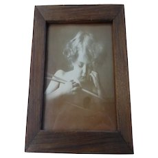"Framed ""Cupid Asleep"" Photograph by M B Parkinson Print Original Oak Frame"