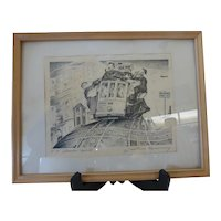 1940s Lithograph San Francisco '5 O'Clock Cable' by Justin Murray Signed & Framed