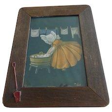 Framed 1905 Bertha Corbett Litho Art Print Sunbonnet Baby Monday Washing Day