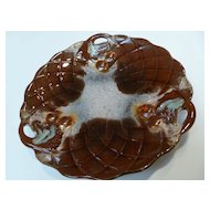 Old Majolica Plate Cherries on Closed Lattice