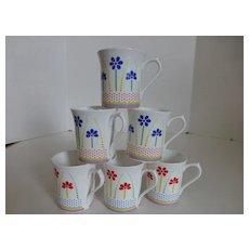 "Queen's English Bone China ""Dolly Daisies"" Mugs Set of 6"