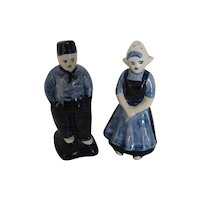 Hand Painted Delfts Holland Blue Dutch Girl & Boy Salt & Pepper