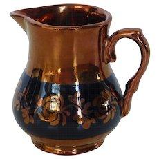 Vintage Copper Lustre Ware with Blue Creamer England