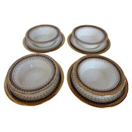 "Antique BOOTHS English Bone China ""Or Repousse"" 4 Crème Brûlée Dishes w Under Plates Cobalt-Gold England"