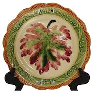 Vintage Majolica Painted Leaf Pattern Plate Japan