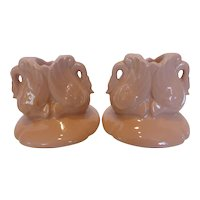 Trenton Chadwick China Pink Art Pottery Double Swan Candle Holders Pair