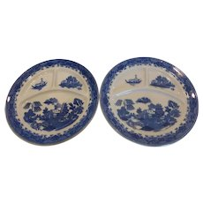 Vintage Blue Willow 3 Part Grill Plates Made In Japan Pair