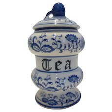 Vintage Blue Onion Porcelain Tea Caddy by Arnart
