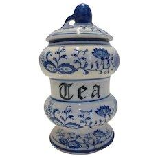Vintage Blue Onion Porcelain Tea Caddy by Arnart