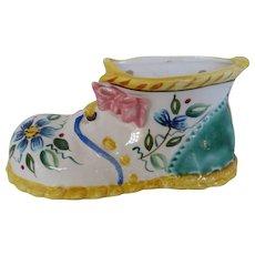 Vintage Ceramic Baby Shoe Wall Pocket Vase