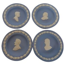 Wedgwood Jasperware White on Blue Round Personality Trays – Kennedy, Eisenhower, Lincoln & Shakespeare  Set of 4