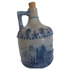 Antique White's Utica N.Y. Pottery Hunting Jug with Dogs & Rabbits
