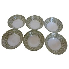 Meakin Sterling Renaissance Green Coupe Cereal Bowls Set of 6