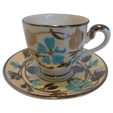 Myott, Son & Co.  Silver and Blue Lusterware Demitasse Cup and Saucer England