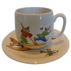 Rare ROYAL WINTON 'Circus Scenes' Child's Nursery Ware   Cup & Saucer  1956