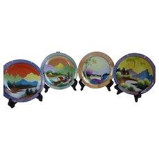 Rare Noritake Morimura Bros Art Deco Hand Painted Plates Set of 4