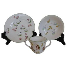 Tiffany & Co 3 Piece Baby Child's Dish Set 'Tiffany Farm' Plate Bowl Mug