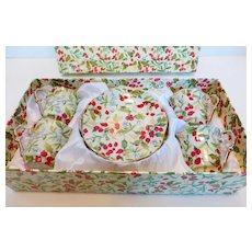 Vintage Demitasse Set Holly Berry Chintz