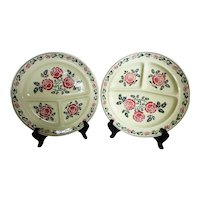 Vintage Divided Grill Plates Germany Air Brushed Pair