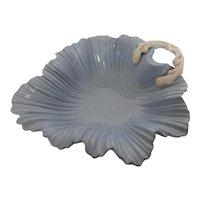 Large Falcon Ware Leaf Bowl Powder Blue Twig Handle England