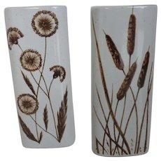 Vintage Ceramic Wall Pocket Vases Wheat & Allium Motif Pair New Old Stock