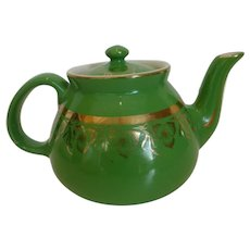 Vintage Hall New York Teapot 8 Cup Green Gold Trillium & Band