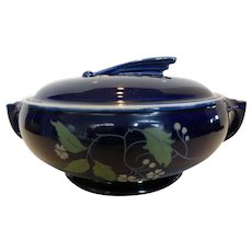 Vintage Hall Art Deco Cobalt Blue Garden Casserole Covered Dish