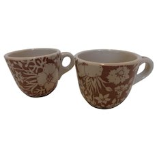 Vintage Wallace China Restaurant Ware Coffee Cups Festival Pattern – Pair
