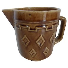 Vintage Monmouth Western Stoneware Brown Pitcher Creamer with Diamond Pattern