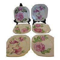 Onondaga Pottery Syracuse China Flower Plates The Rose, The Peony, The Camellia, The Magnolia Set of 6