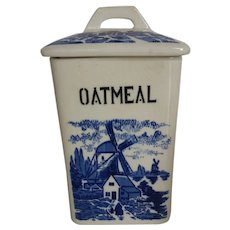 Vintage Blue and White Ceramic Oatmeal Canister Storage Jar Germany