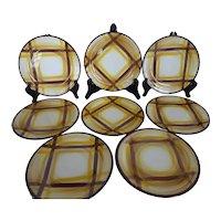 Vernon Kilns 'Organdie' Salad or Dessert Plates Brown & Yellow 7-1/2 Inch Set of 8