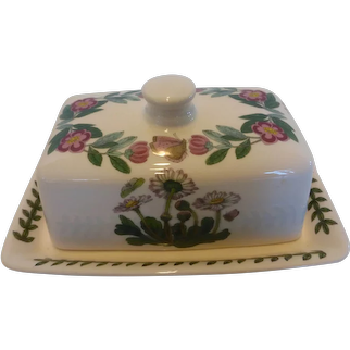Portmeirion Botanic Garden Covered Butter Dish with Lid Cyclamen and Butterflies England