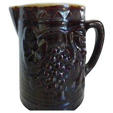 Antique Brown Salt Glazed Stoneware Pitcher w Grapes Motif 8 Cup Capacity