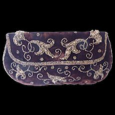 Walborg  Beaded Velvet Clutch Cocktail Evening Purse Made in Belgium
