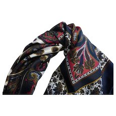 Vintage Heavy Silk Twill Scarf  Made in France