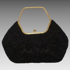 Stunning Vintage Black Beaded Bag Handbag Purse