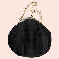 Vintage Pleated Black Satin Evening Bag Filigree Frame