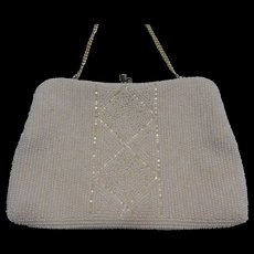 Vintage White Beaded Clutch Evening Bag Purse